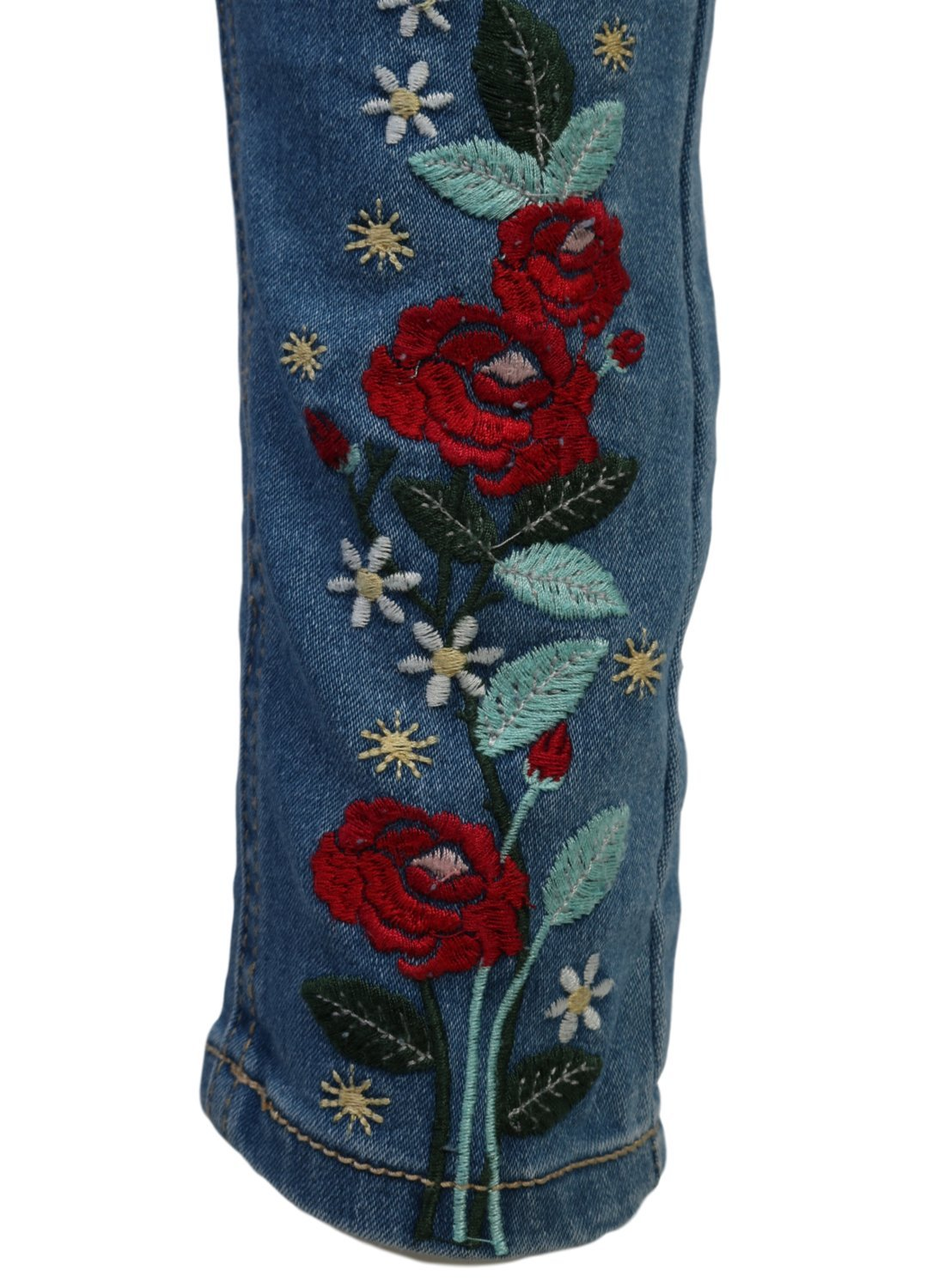 WallFlower Girl's Skinny Soft Stretch Jeans with Rips and Tears, Light Wash/Floral 8 by WallFlower Jeans (Image #4)