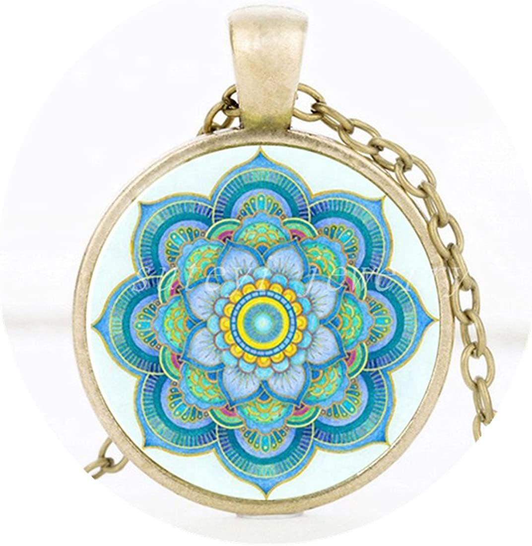 Mandala Flower Necklace in rose gold Mandala Flower Jewelry Mandala Flower Pendant Floral Necklace Mandala Jewelry Yoga Necklace
