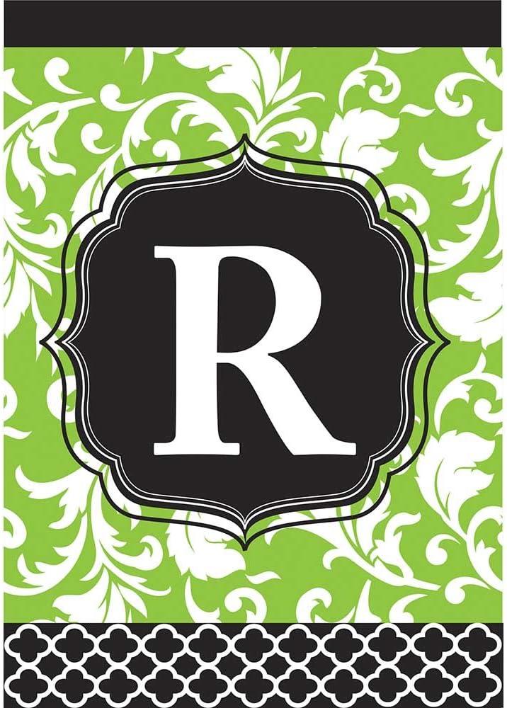 Monogram R Filigree Green and Black Shield 18 x 13 Rectangular Double Applique Small Garden Flag