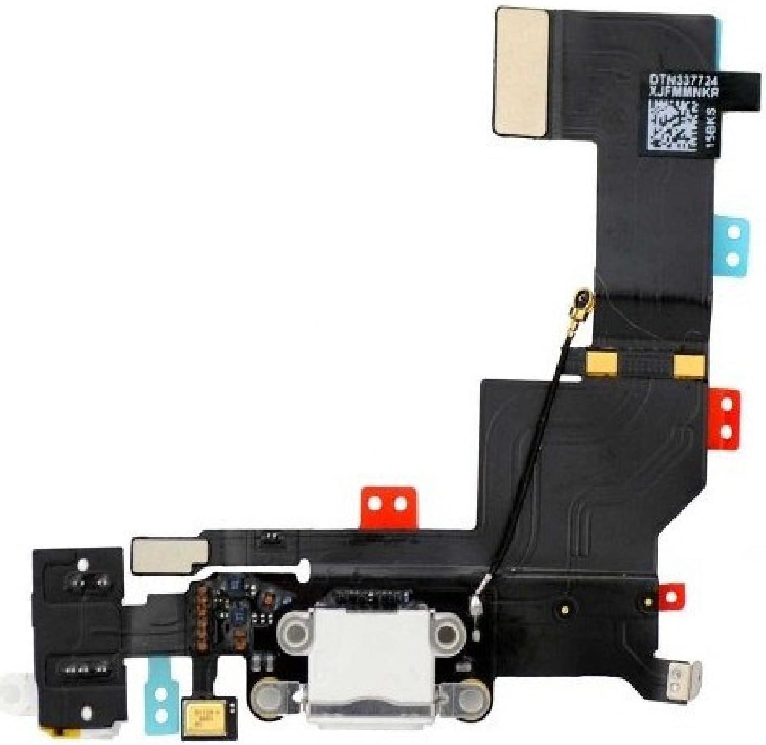 Para iPhone SE Dock Conector Blanco Puerto de Carga Unidad de Reemplazo con Micrófono y Conector de Auriculares