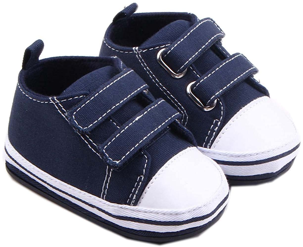bettyhome Cotton Unisex Baby Newborn Navy Blue Canvas Soft Sole Infant Toddler Prewalker Sneakers 0-1 Year
