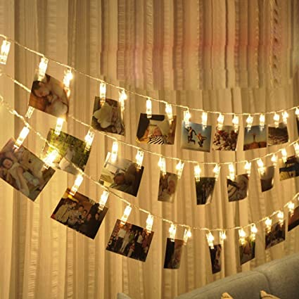 String Lights For Patio,1.5M 10 LED Hanging Card Picture Clips Photo Pegs  String