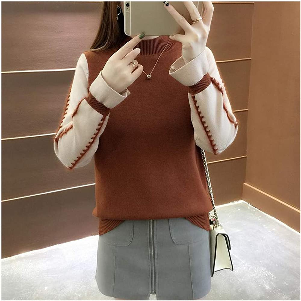 Jersey Suéter de Manga Larga con Cuello Alto Falso de Mujer
