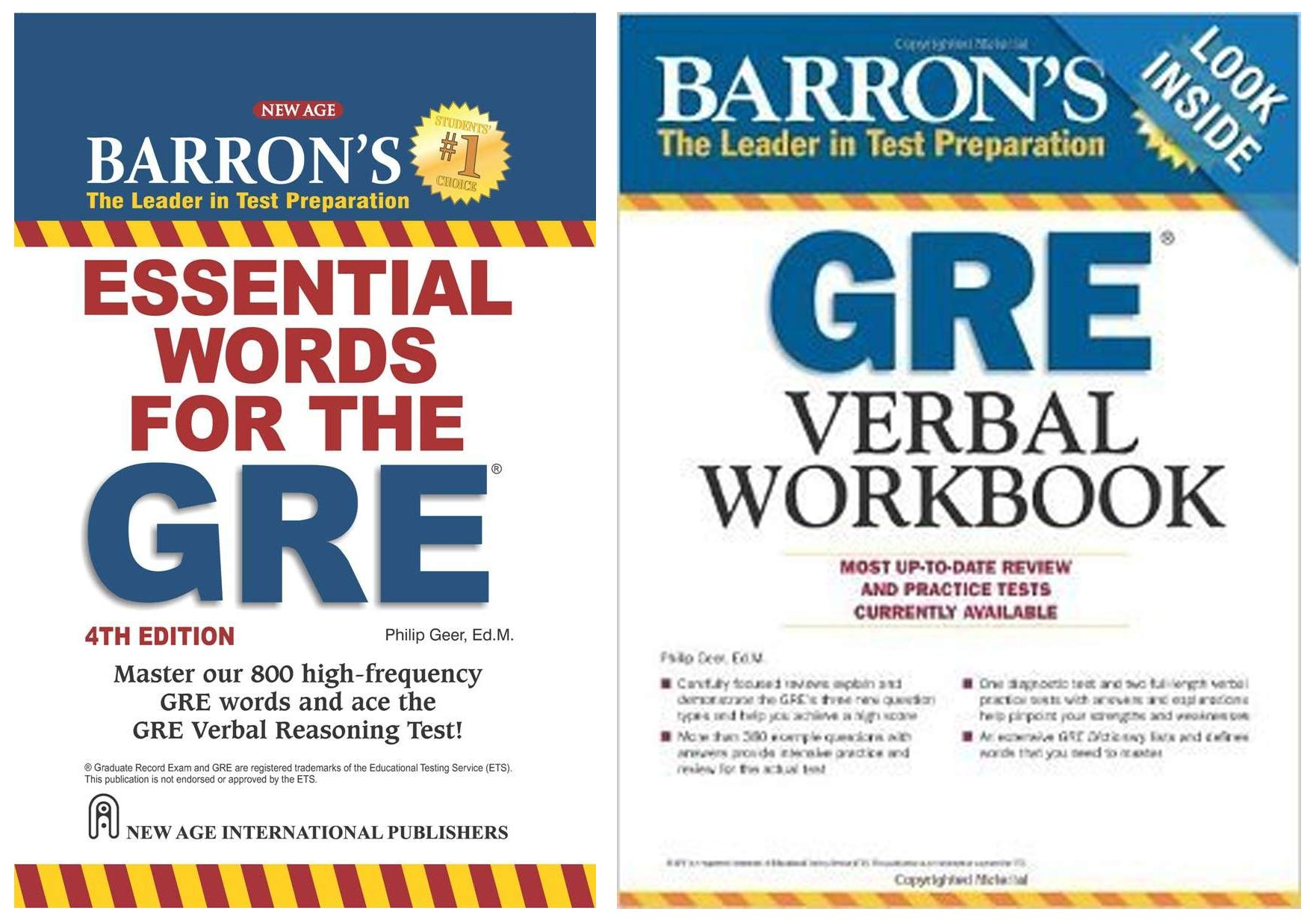 Barron`s Essential Words for the GRE + Barrons GRE Verbal Workbook (Set of 2 Books)