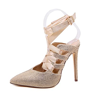 8d26295e40c Amazon.com   Peatutoori Women's High Heeled Pumps Cross-Tied Ankle Strap  Crystal Sandals Rhinestone Buckle Heels   Heeled Sandals