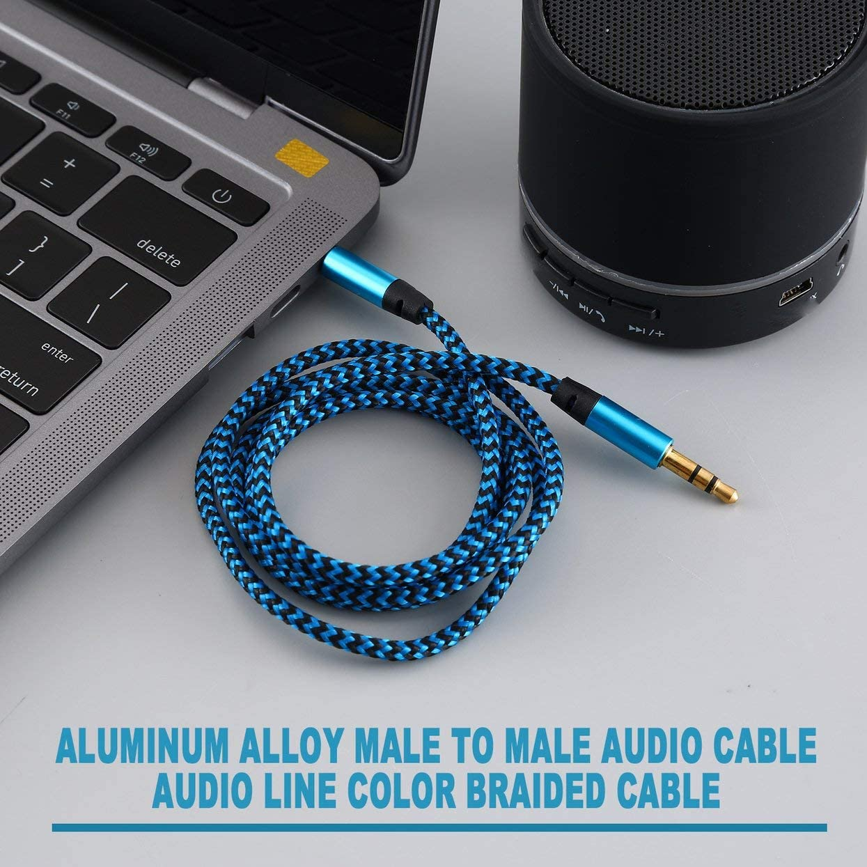 Detectorcatty Aluminum Alloy Male to Male Audio Cable 3.5Mm Audio Cable Aux Color Braided Recording Line Car Universal Cable