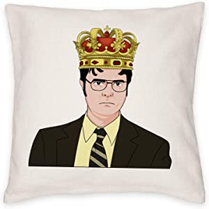 THANGKA Throw Pillow Cover, The Office Dwight Schrute with Crown 18x18 Inch Decorate Pillow Case, The Office Merchandise Cushion Cover for Home Decor, Decoration Gift for The Office TV Show Fans