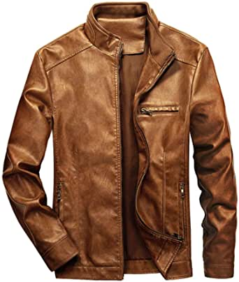 WULFUL Men's Stand Collar Leather Jacket Motorcyle Lightweight Faux Leather Outwear