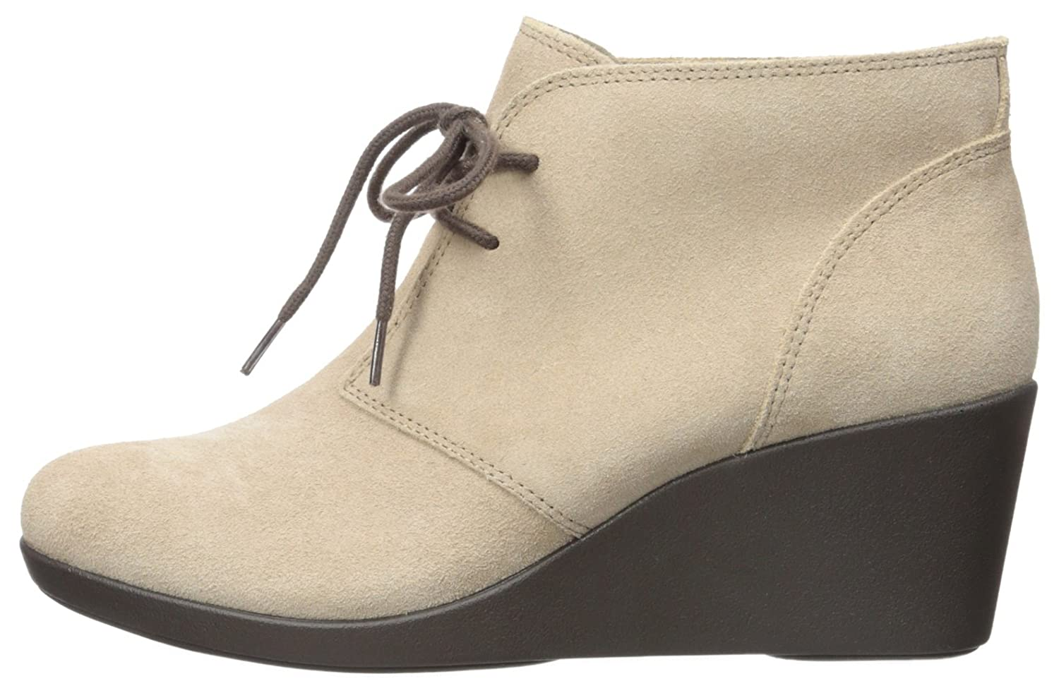 Crocs Women's Leigh Suede Wedge Shootie Boot B01A6LM5Q4 8 B(M) US|Tan