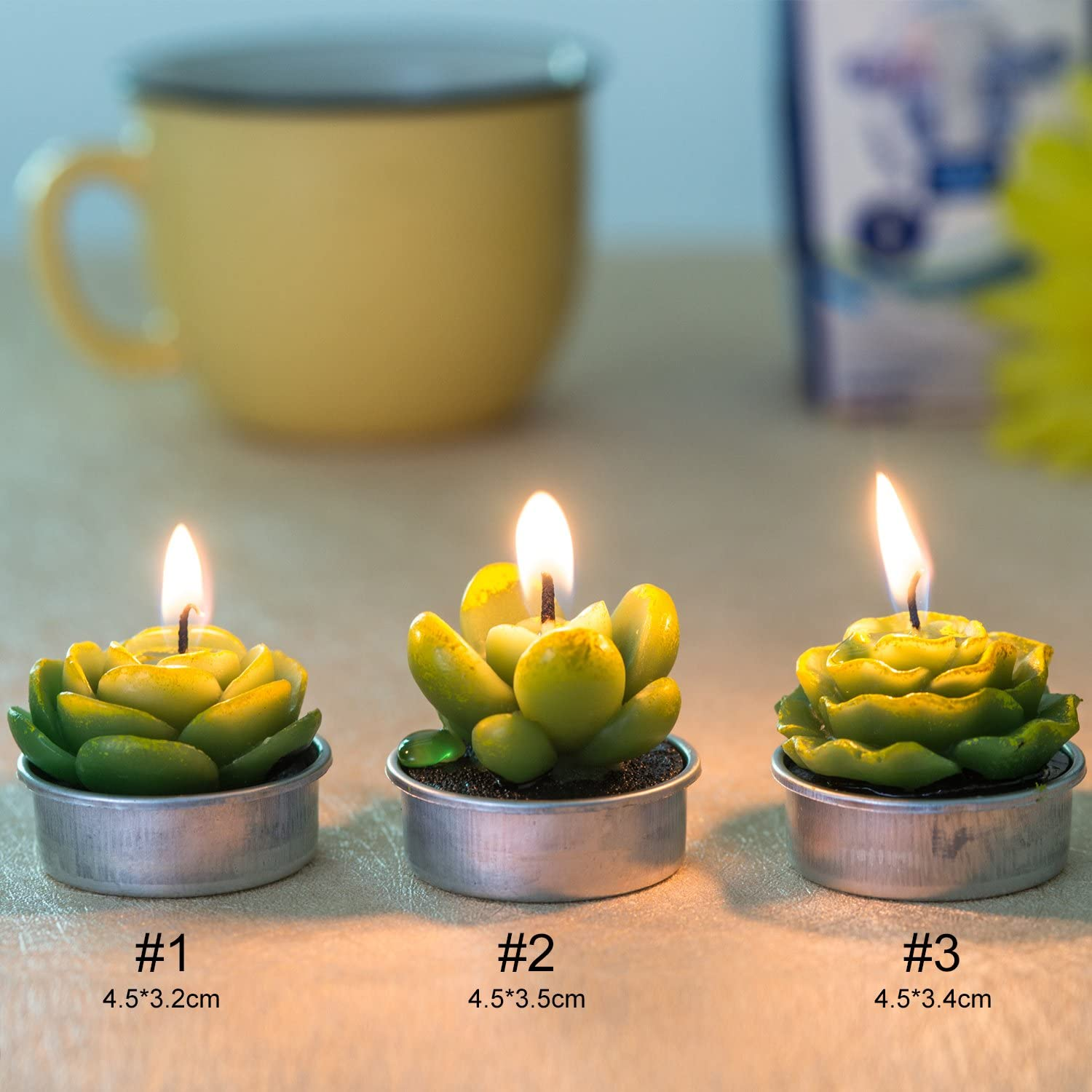 COCOMOON Cactus Tealight Candles,12 Pieces Handmade Delicate Succulent Cactus Candles for Party Wedding Spa Home Decoration Gifts