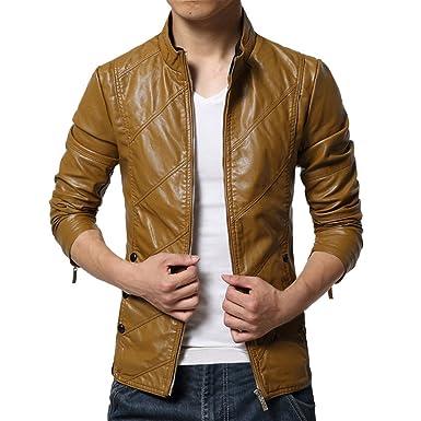 ... de los Hombres Lavados PU Chaqueta de Cuero Hombres Chaqueta de Cuero Biker Motocicleta Zipper Outwear Abrigo abrigado: Amazon.es: Ropa y accesorios