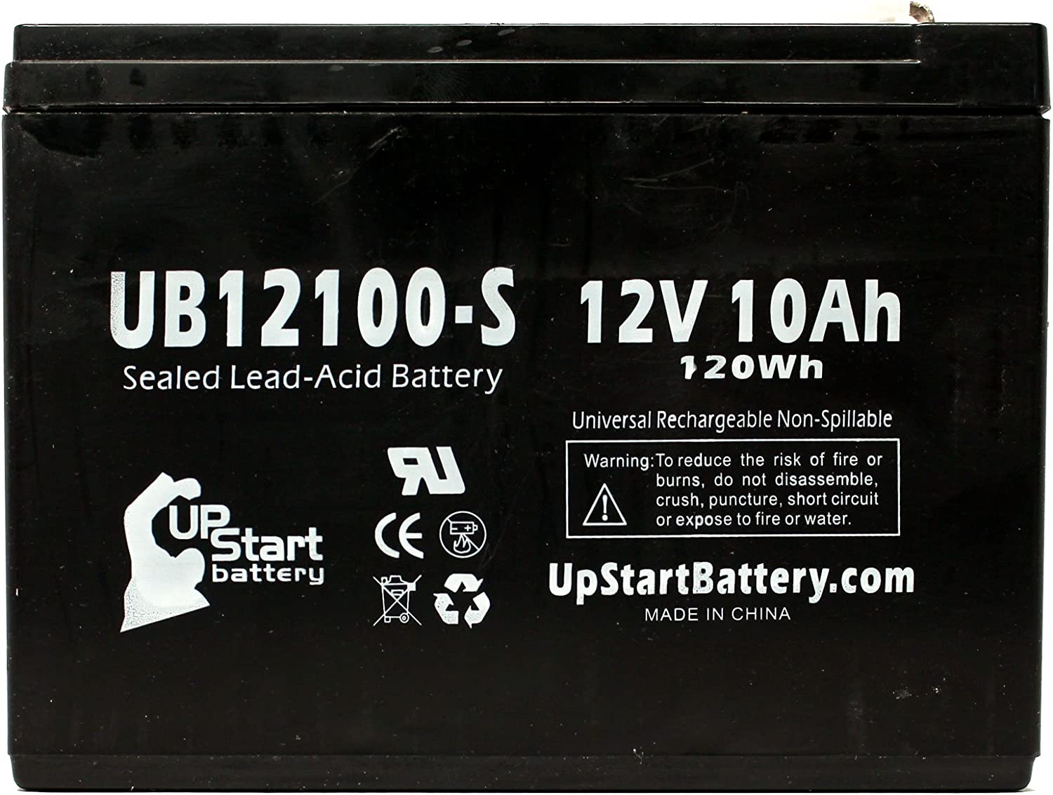 4 Pack Replacement for Neuton Mowers CE6 Battery Replacement UB12100-S Universal Sealed Lead Acid Battery 12V, 10Ah, 10000mAh, F2 Terminal, AGM, SLA