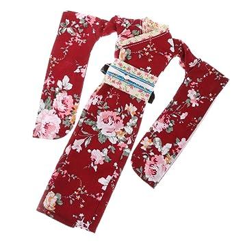 MagiDeal Juegos de Fashion Ropa Traje Kimono del Algodón Muñeca para 12 Pulgadas Vestido Muñeca Blythe Rojo