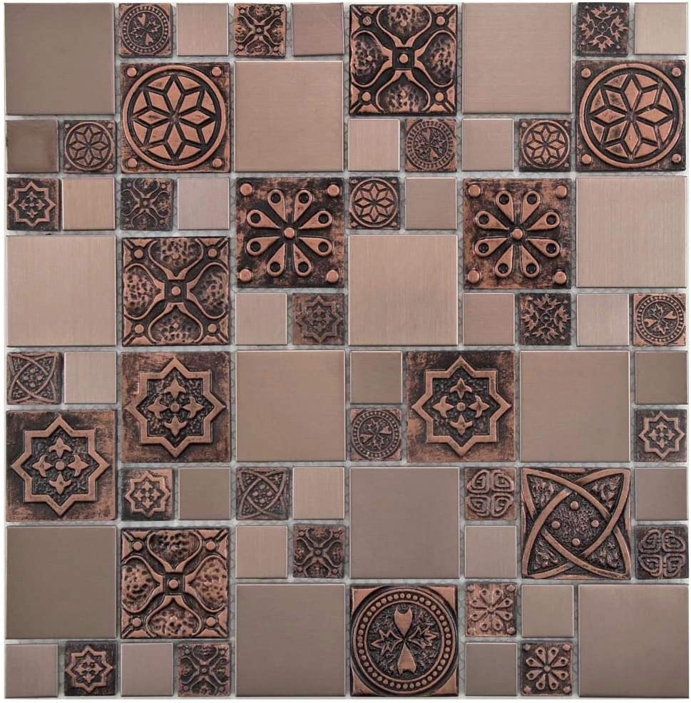- Copper Color Stainless Steel Metal Mosaic Tile For Kitchen