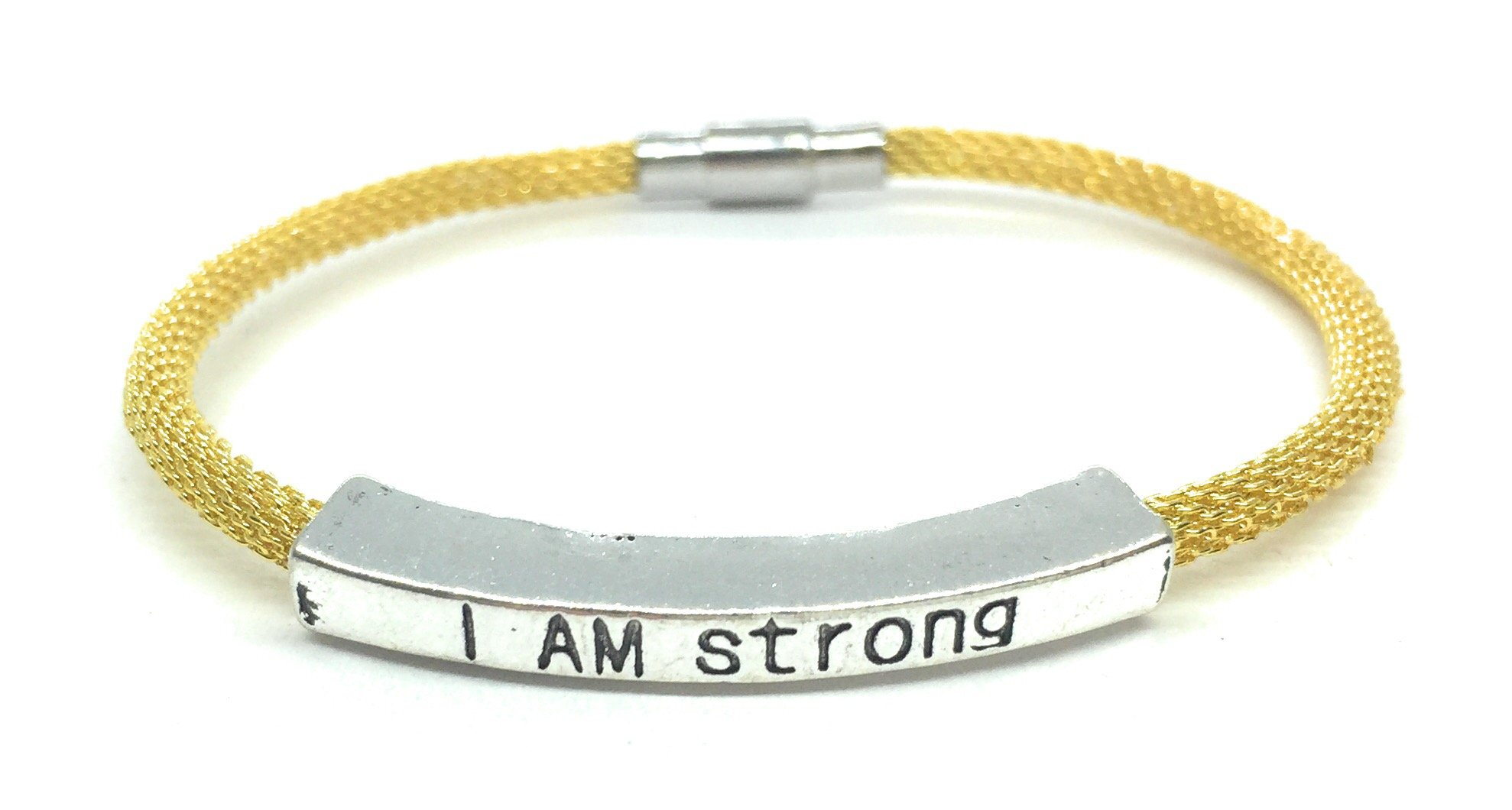 I Am Strong Inspirational Quote Bracelet Mesh Stacking Made in USA (Gold)
