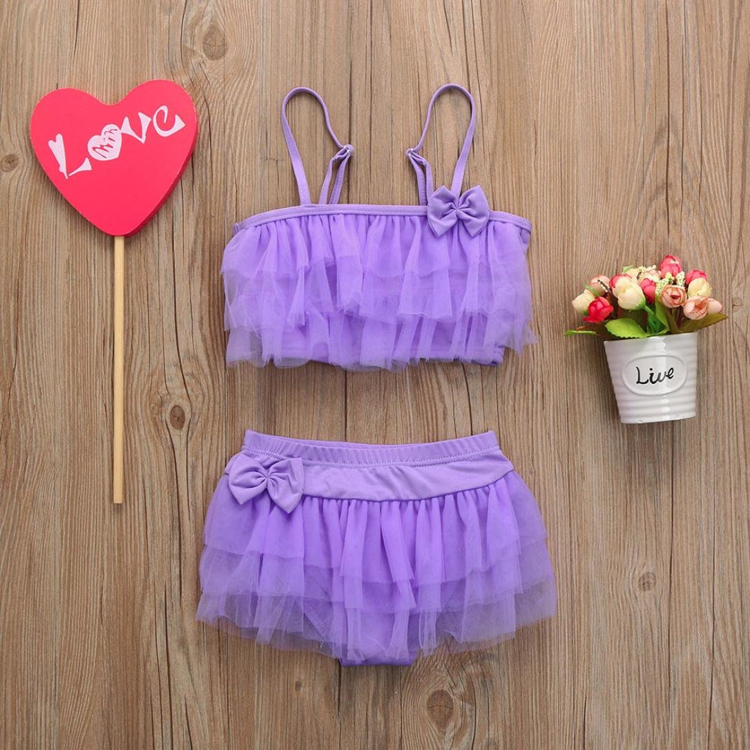 91cd66c27c9a Amazon.com  Goodlock Toddler Kids Fashion Swimsuits Baby Girl Striped Gauze  Swimsuits Straps Bow Romper Bathing Outfit (Purple)  Clothing