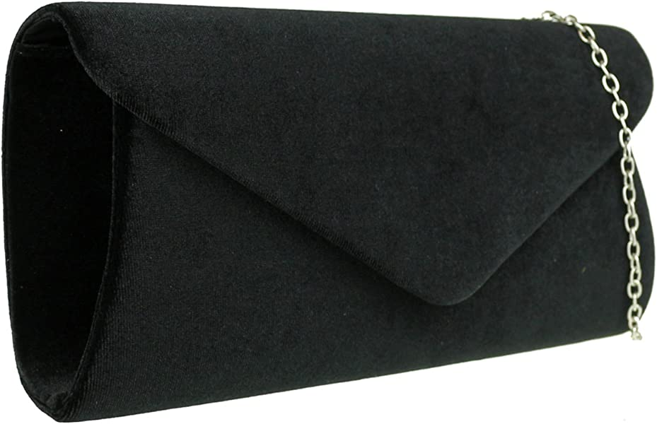 a01af4027f9f9 Girly HandBags Plain Velvet Clutch Bag - Black: Amazon.co.uk: Shoes ...