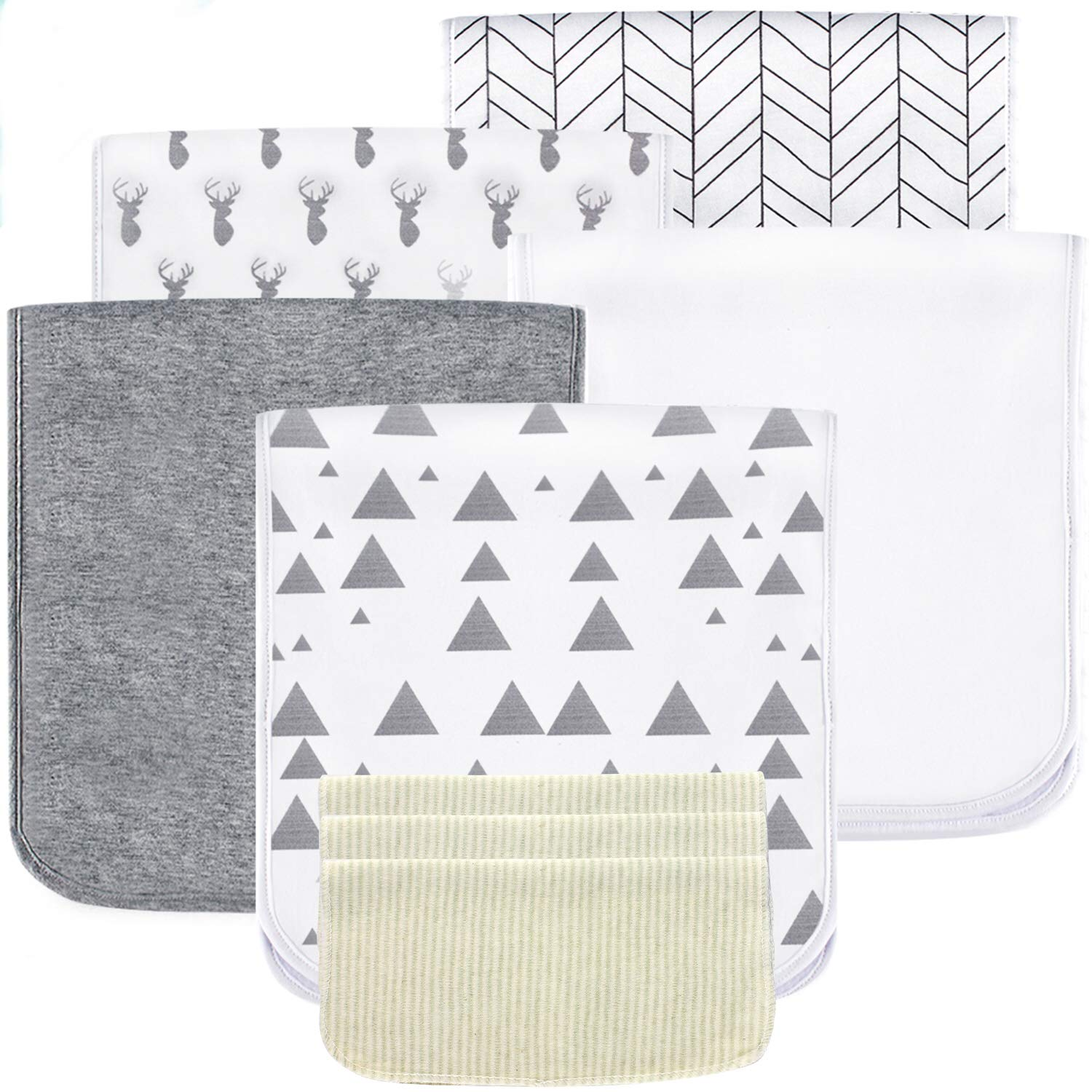 5 Pack Baby Burp Cloths Set - Upgraded Ultra Absorbent 100% Organic Cotton, Soft and Breathable Towels, Larger 21''×10'', Double Layer with 3 Pack Small Baby Washcloths for Newborns, Boys and Girls by Sysrion