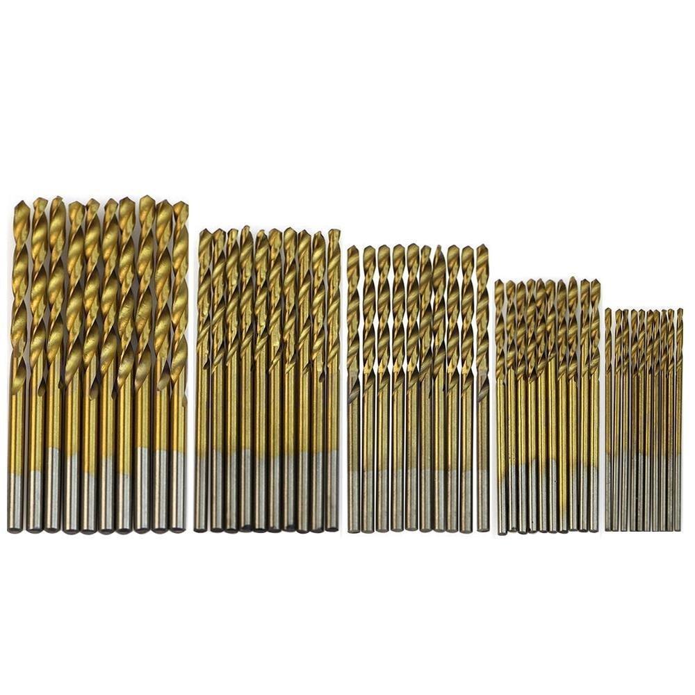 Pawaca Titanium Coated Pilot Point High Speed Steel Shank Twist Drill Bit Set for Wood, Plastic, Aluminum Copper Steel, 50-Piece of 1, 1.5, 2, 2.5, 3 mm BHBUKALIAINH2432