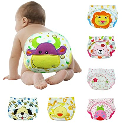 Ajustable Bebé Kids Cartoon reutilizable Pañal lavable pañales de tela 10 piezas