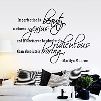 Luckkyyimperfection Is Beauty Marilyn Monroe Wall Sticker Quote Decal Quote Decals Wall Art