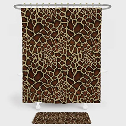 IPrint Zambia Shower Curtain And Floor Mat Combination Set Giraffe Skin Pattern Wildlife Symbolic Zoo Hippie