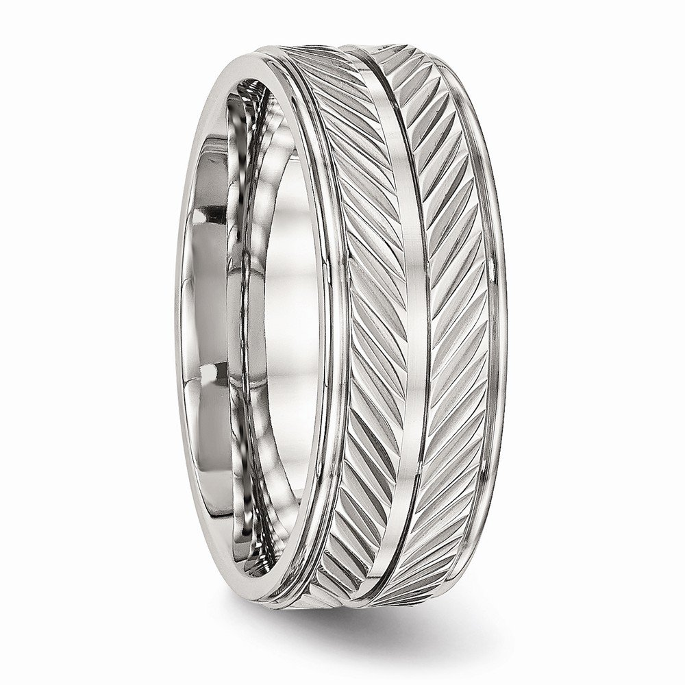 Bridal Wedding Bands Decorative Bands Stainless Steel Polished Grooved Ring Size 8.5
