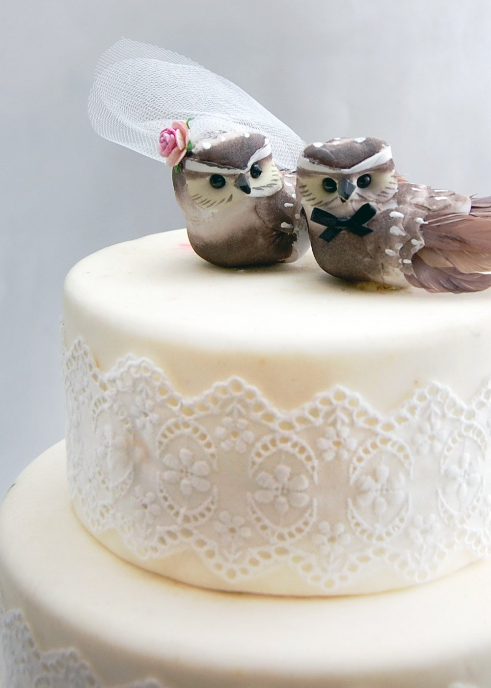 Owl Cake Topper in Cocoa Brown: Woodland''Bride and Groom'' Love Bird Wedding by Becky Kazana (Image #3)