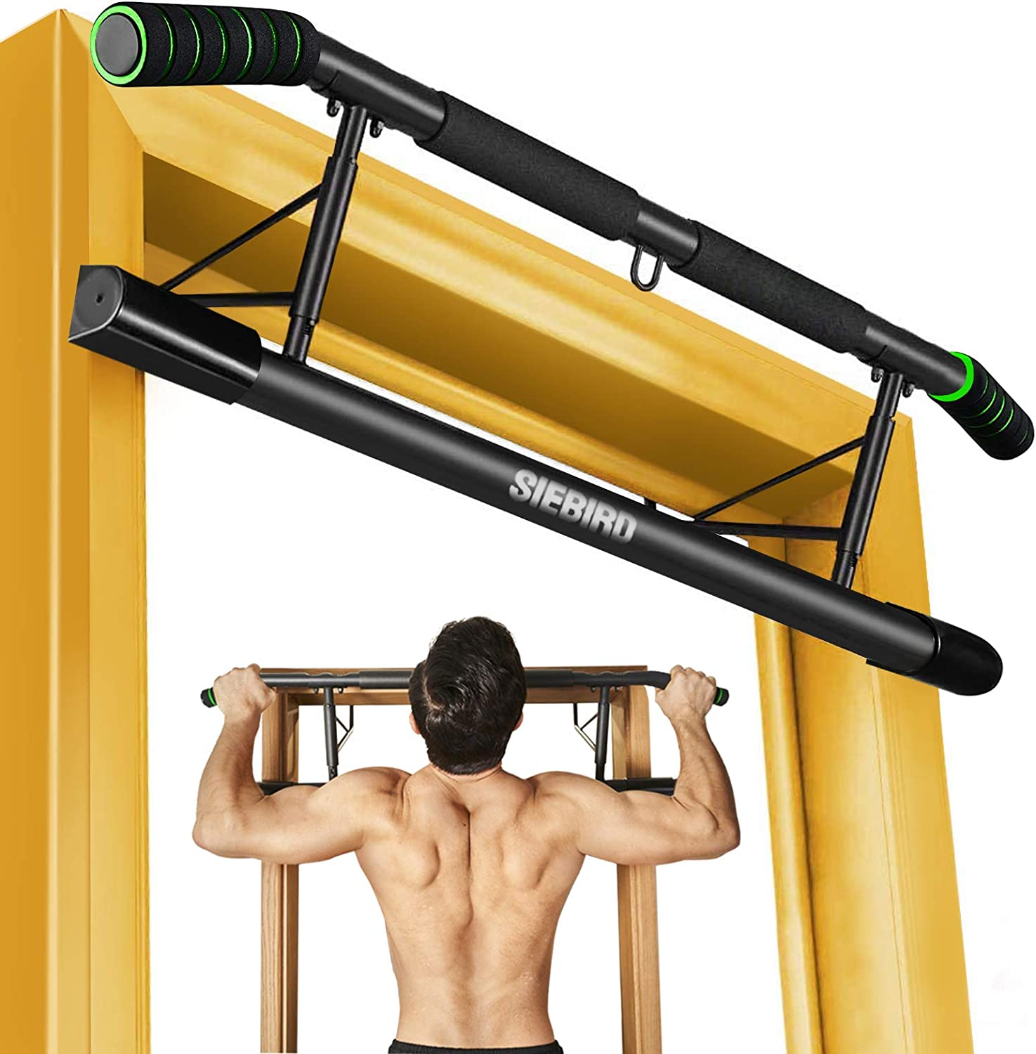Portable Home Gym Equipment with Bonus 2 Professional Wrist Straps Multi-Gym Chin Up Bar with Smart Hook Technology SIEBIRD Pull Up Bar for Doorway No Screw