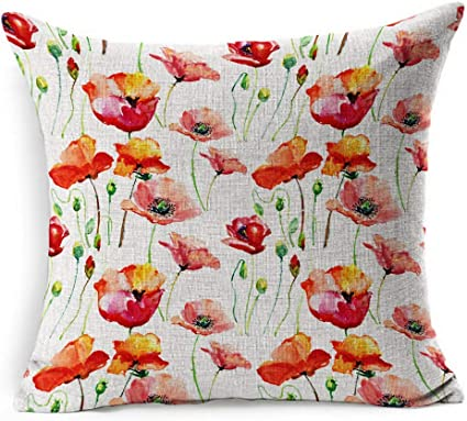 Throw Pillow Cover Square Meadow Watercolor Drawing Poppy Flower Red Abstract Field Greenfield Spring Pattern Lowe Pillowcase Home Decor Cushion Case 18x18 Inches Amazon Co Uk Kitchen Home