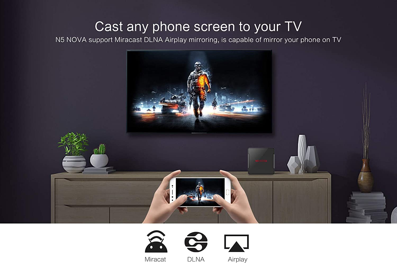 Android9.0 TV Box, N5 Nova Voice TV Box 4GB RAM / 64GB ROM RK3318 Soporte Quad-Core 2.4Ghz / 5.0Ghz WiFi 8K HDMI DLNA 3D Smart TV Box, Control Remoto por Voz,4gb+64gb: Amazon.es:
