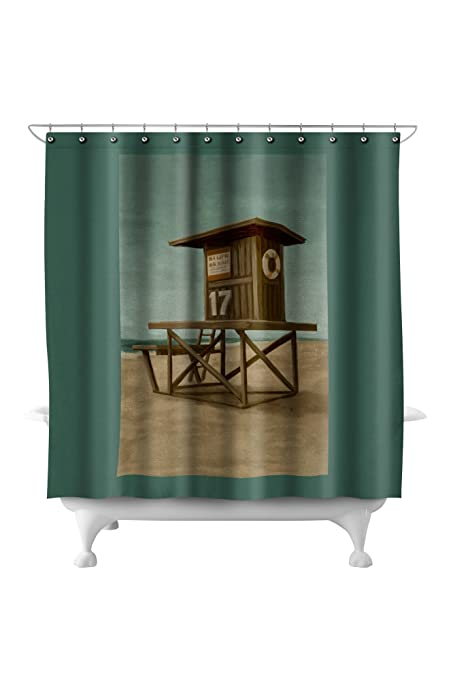 f57c85f7154 Buy Lifeguard Tower - Oil Painting (71x74 Polyester Shower Curtain) Online  at Low Prices in India - Amazon.in