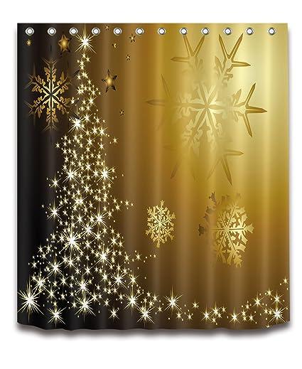 LB Golden Snowflakes Shower CurtainXmas Eve New Year Bathroom Decorations Merry Curtain Anti