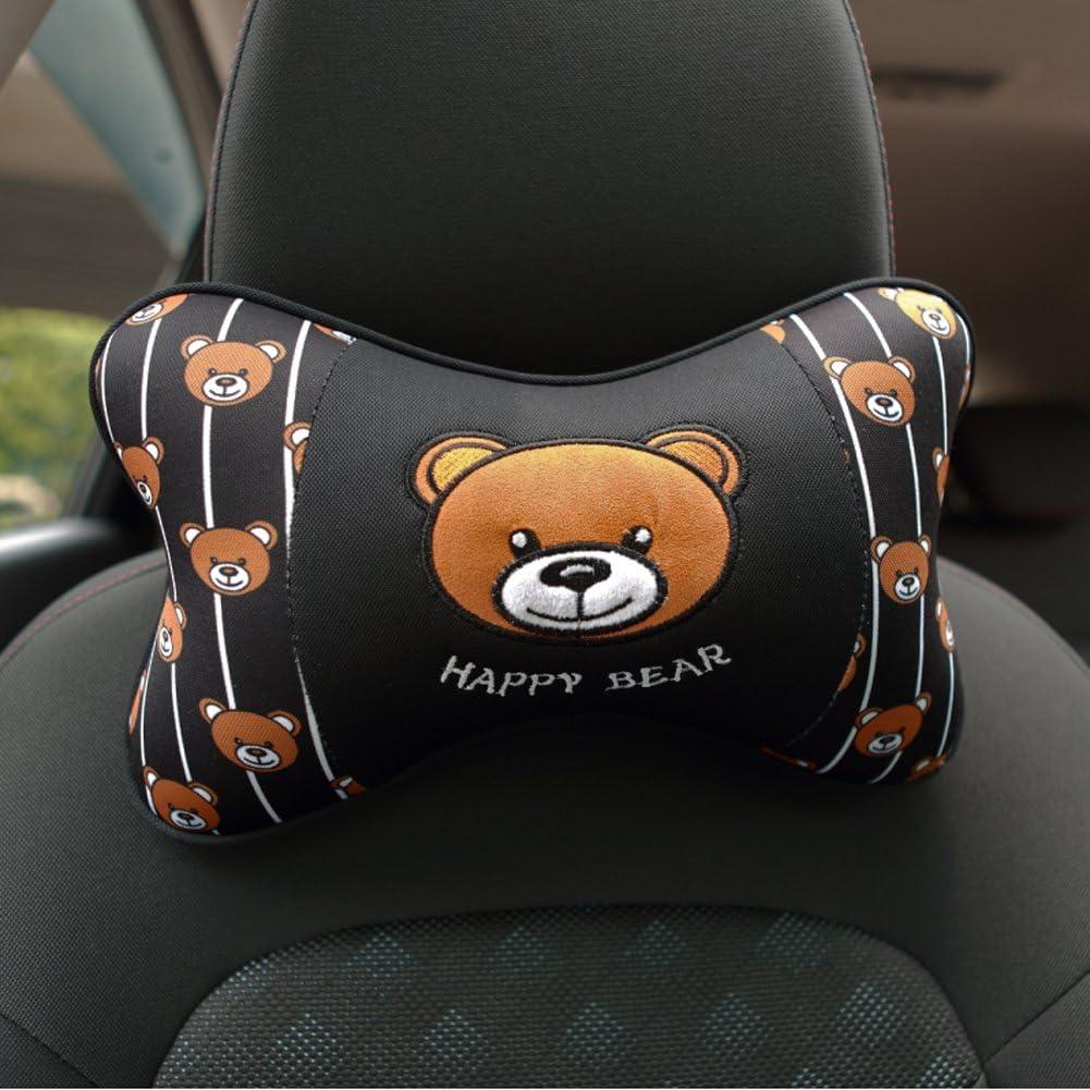 Happy Bear - Black Color 1 Pair Tianmei 2PCS Happy Bear Cartoon Styling Car Headrest Protect Neck Pillow Cartoon Travel Rest Pillow Cushion Pad