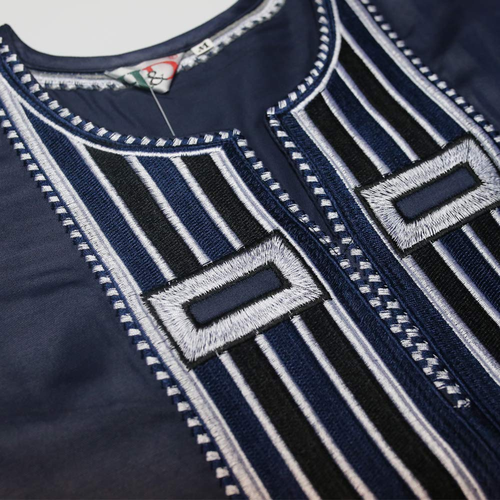 African Family Matching Outfits Clothes 3 Pieces Agbada Robe Daddy and Me Clothing for Man, Blue 4XL by H D (Image #5)