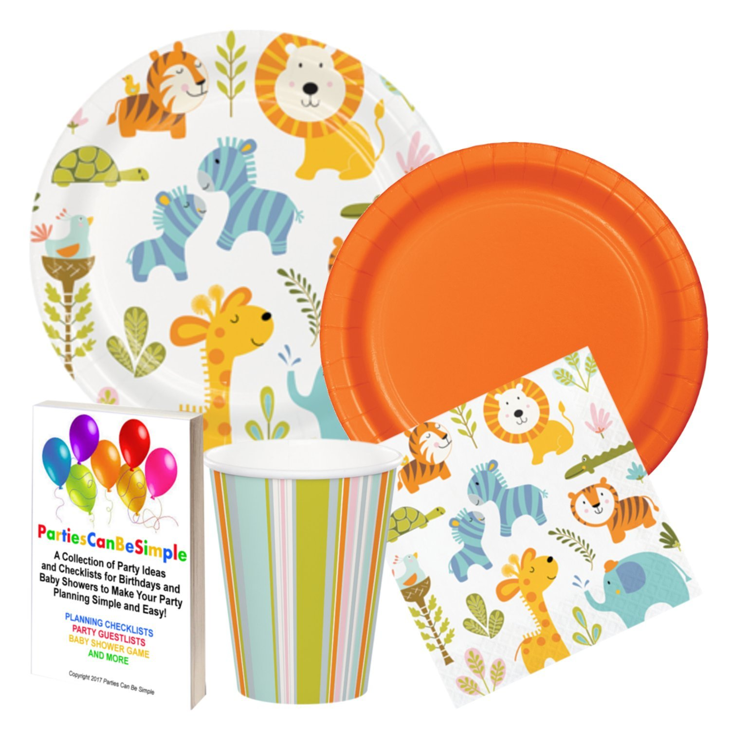 Baby Jungle Animals Baby Shower Party Supplies Plates Napkins Cups for 16 Guests by Parties Can Be Simple