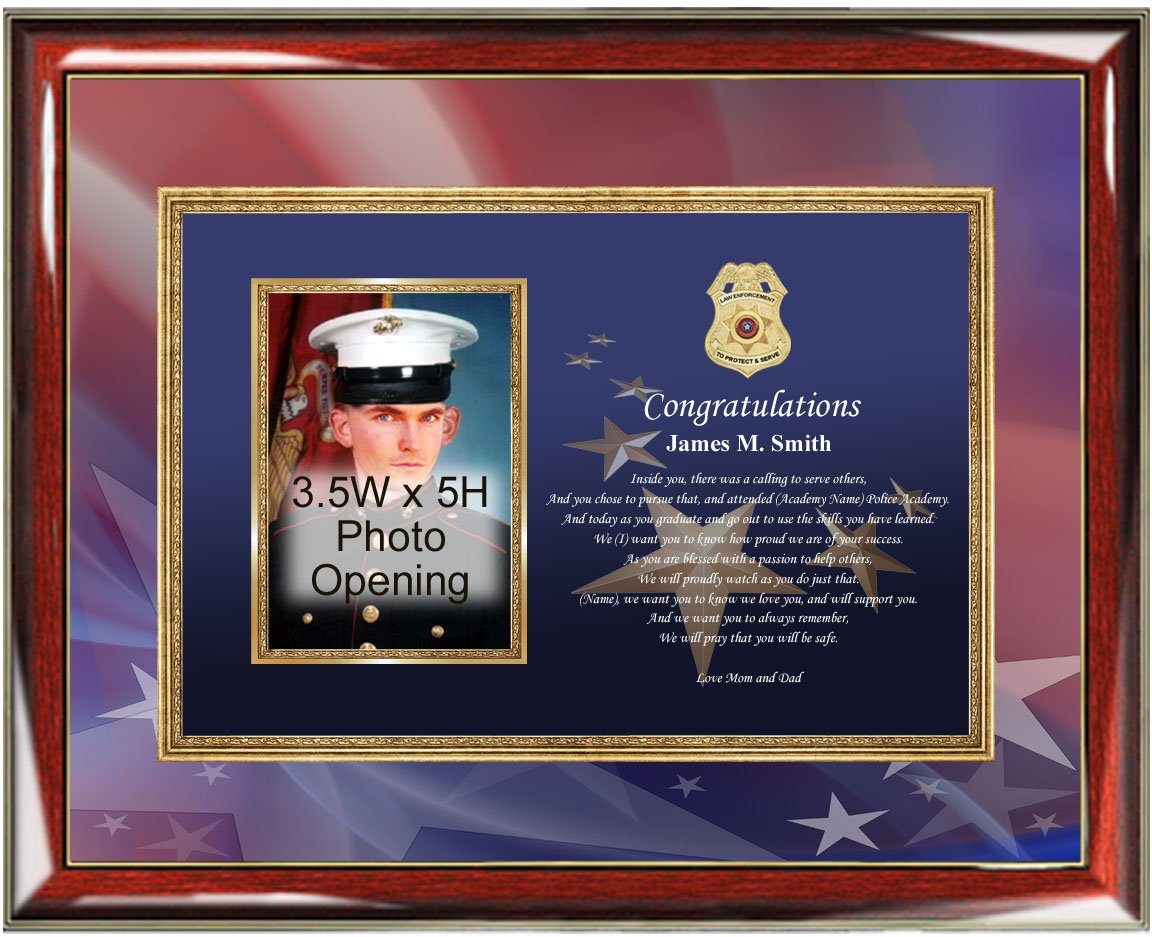 Personalized Congratulation Graduation Gift to Police or Sheriff Academy Poetry Officer School Graduation Picture Frame Unique Present Wall Poem Law Enforcement Homeland Security FBI Academy Plaque