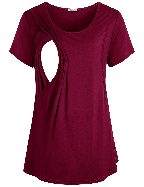 Baikea Maternity Tunic, Short Sleeve Nursing Shirt Leggings Cotton Wine Large Breastfeeding Tops Flattering Soft Tiered Round Neck Shirt Cozy Pregnant Clothes Wine L