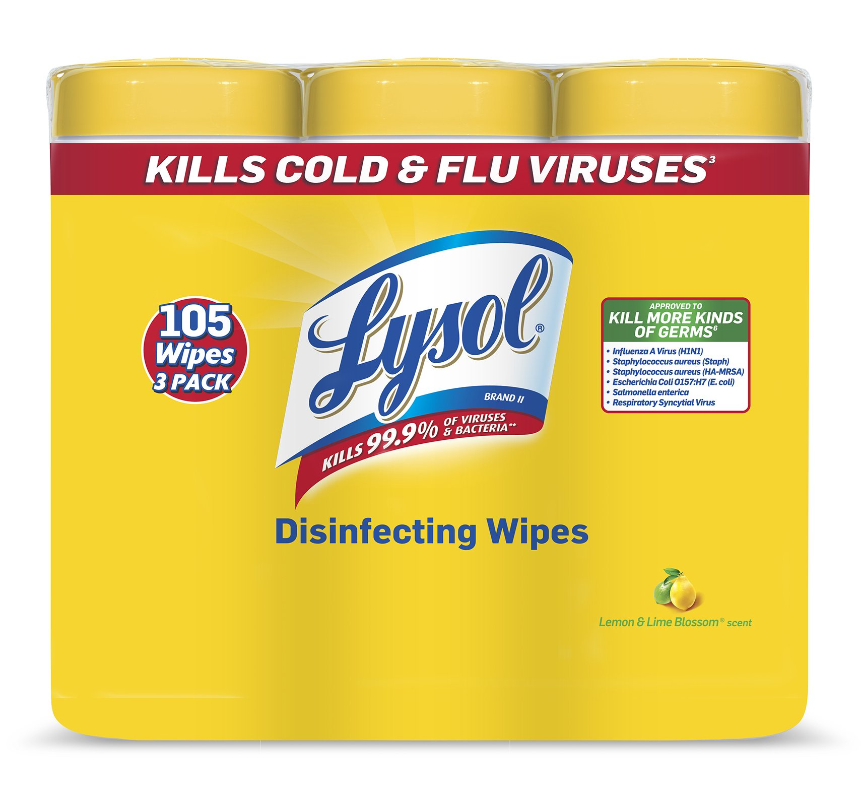 Lysol Disinfecting Wipes, Lemon & Lime Blossom, 105 Wipes (3 Packs of 35