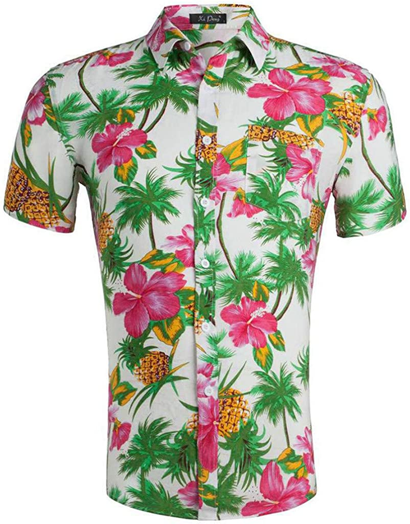 linqiudD Summer Mens 3D Color Print Trend Color Short-Sleeved Casual Fashion Shirt Blouse