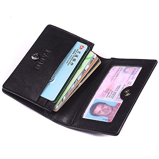 557093b6d3fb RFID Blocking Credit Card Holder Leather ID Case for Men Pabin (Classic  Black)