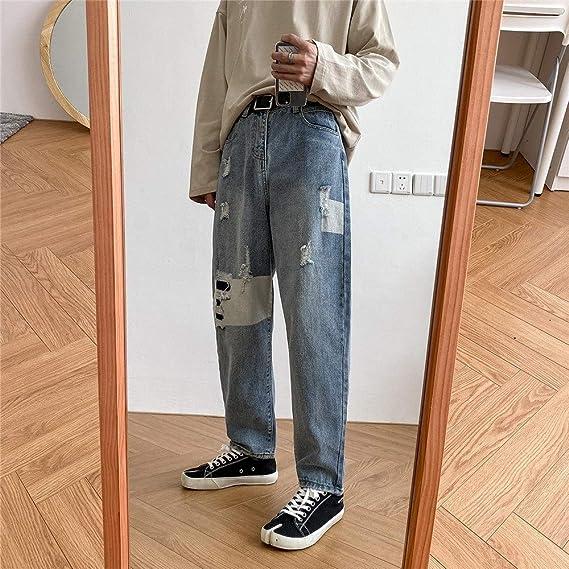 デニム スキニー パンツ ダメージ加工 配色 2色 カジュアル ファッション ストレッチ スリム ジーンズ メンズ ストレート M L XL 2XL 「B&ji-nnzu」 (Color : ブルー, Size : XL)