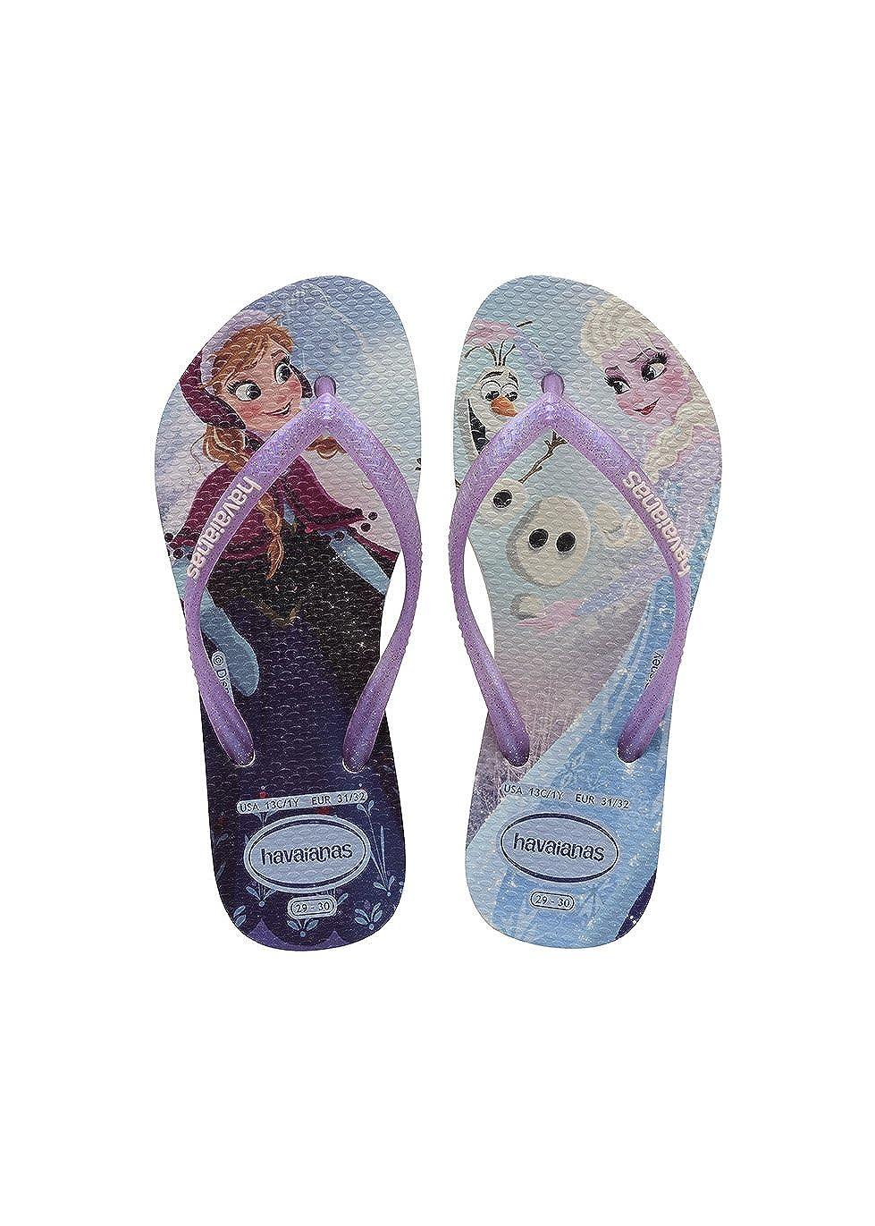 3d77995fc8 Amazon.com | Havaianas Kids Slim Frozen Elsa Ana and Olaf Flip-Flops |  Sandals
