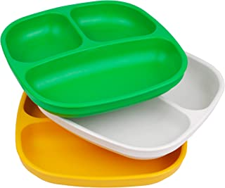 product image for Re-Play Made in USA 3pk Divided Plates with Deep Sides for Easy Baby, Toddler, Child Feeding - Kelly Green, White & Sunny Yellow (St. Patrick's Day)