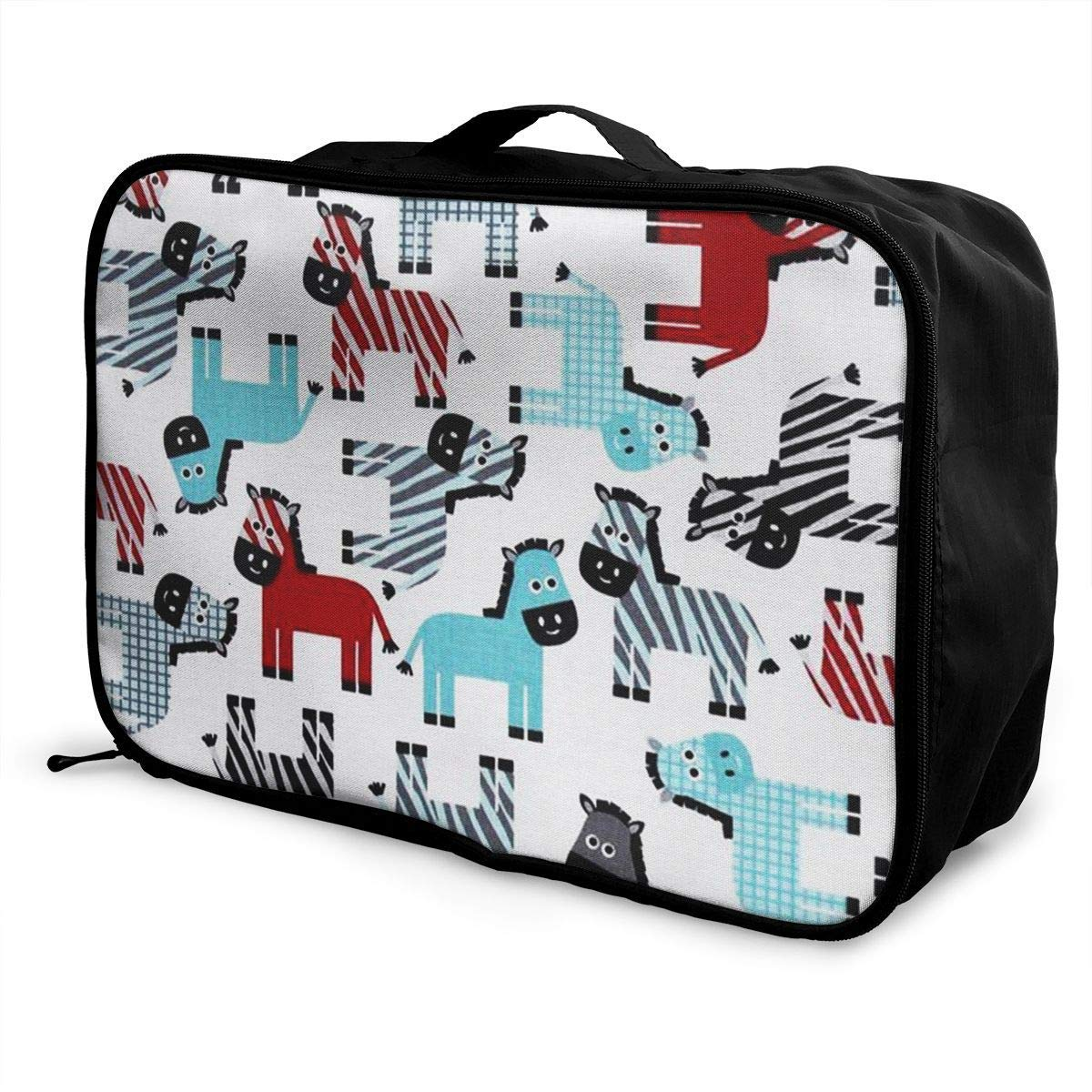 Portable Luggage Duffel Bag Stripe Horses Travel Bags Carry-on In Trolley Handle