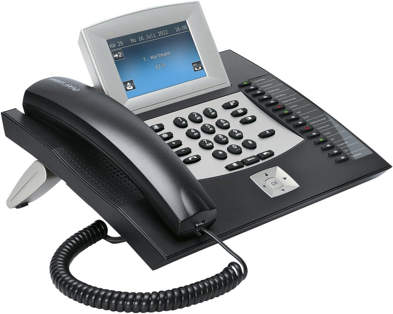Auerswald COMfortel 2600 Telefon mit Anrufbeantworter und Freisprecheinrichtung (10,9 cm (4,3 Zoll) Farbdisplay, SD Kartenslot, USB) schwarz