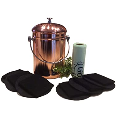 Kitchen Compost Pail Bin for Countertop - Food Scrap Container, Leak proof Stainless Steel with Copper Plating; 1 Gallon, Comes with Bonus 1 Year's Worth of Dual Charcoal Filters & Compost Pail Bags