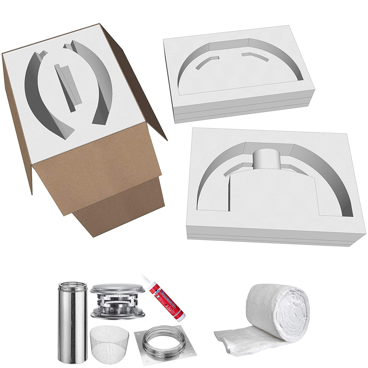 Pizza Oven Kit • Brick Oven - Build a Wood Fired Pizza Oven from Refractory Cement and Our 5-Piece Cortile Barile Pizza Oven Molds • Stainless Fibers • DuraTech Exhaust • Ceramic Fiber Blanket