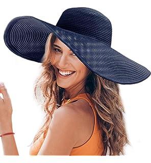 Dafunna Sombrero De Paja para Señoras Straw Sombrero Pamela De Sol Plegable  De ala Ancha para 86d006336d1