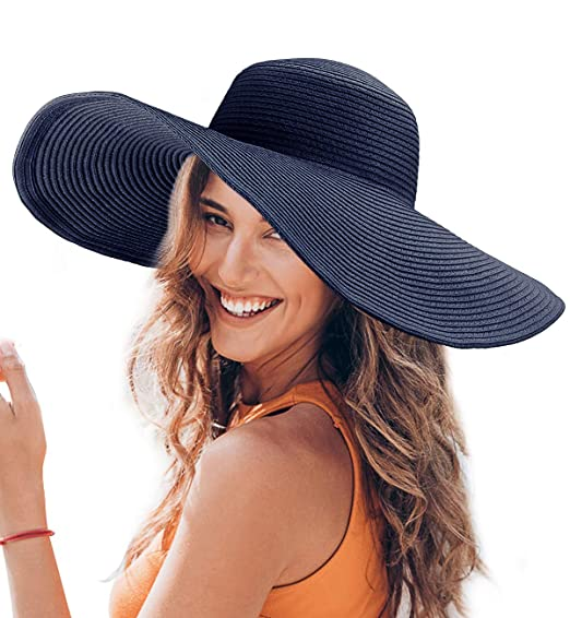 3554222f3c2279 Dafunna Women Floppy Straw Hat Wide Brim Beach Sun Hat with Adjustable  Drawstring Blue